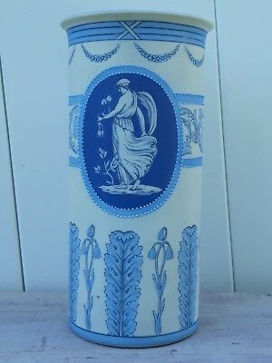 Greek Style Blue and White Hand Painted Porcelain Vase