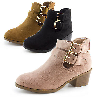 Link Girls Zipper & Buckle Faux Suede Ankle Booties S74K(Toddler 9 10/Youth11-4)