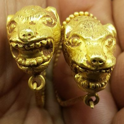 Rare found Roman Old  23k karat Gold Earings With lion Face Heads 18.17 gr  # 7B