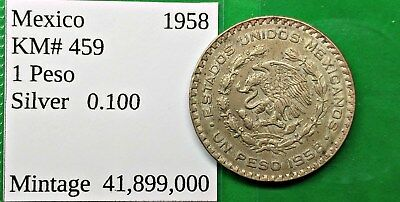 World Foreign Nice Old Mexico 1958 Silver 1 Peso Coin KM# 459 !!