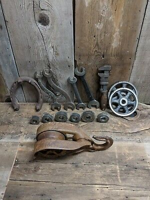 Antique Cast Iron Pulley Tools Gears Industrial Steampunk Decor/Farm (Lot of 15)