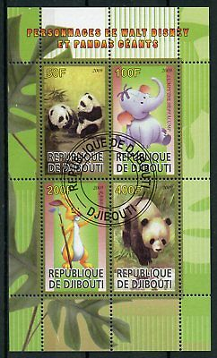 Djibouti 2009 CTO Walt Disney Cartoons & Giant Pandas 4v M/S Wild Animals Stamps