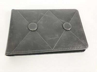 """UMBRA Photo Album Grey Button Quilted Leather Cover - Holds 52 4x6"""" Photos"""
