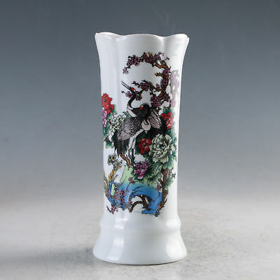 CHINA PORCELAIN HAND-PAINTED LOTUS&BIRDS VASE MADE THE DAQING QIANLONG m,660