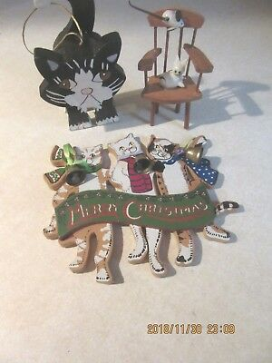 wood cat ornaments-merry christmas, cat, & mouse on chair,stand up black cat
