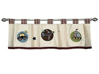 Toddler Baby Boys Window Valance Boat Car Plane Blue Brown Plaid NoJo Good to Go