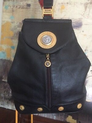 GIANNI VERSACE VINTAGE Authentic Black Leather Backpack Sling Bag ... 39f043d241304