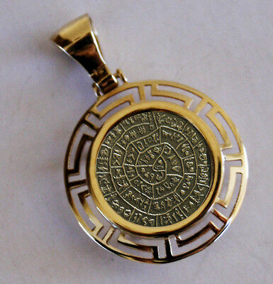 Phaistos Disc Greek Coin Pendant Frame Solid Gold K14 And Sterling Silver 925
