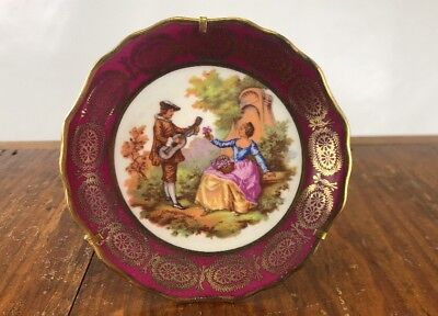 Antique Vintage Mini Hand Painted French Limoges Decorative Plate W/ Stand
