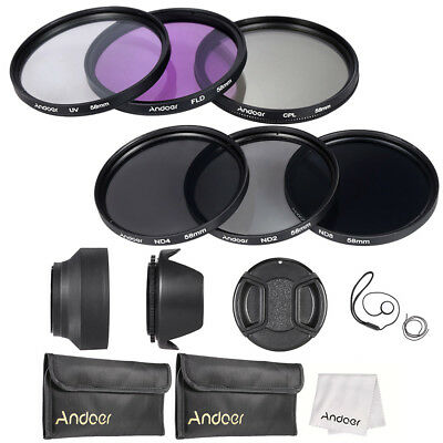 58mm UV CPL FLD ND(2 4 8)Lens Filter Kit Pouch + Hood + Cap for Canon Nikon H6W2