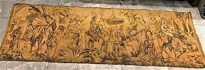 """Antique Tapestry 56""""x 19"""" Arabic Men Camels Robs Trees Key Shape Arch Tan Brown"""