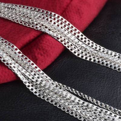 "1PC 2mm 16"" Silver Plated Copper Figaro Curb Flat Chain DIY Jewelery Necklace"