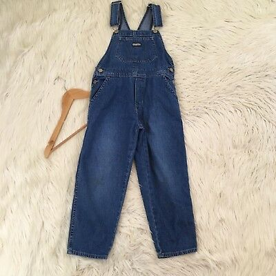 VTG Oshkosh Bigosh Girls Size 6X Denim Vestback Overalls Jean Pockets Jumper