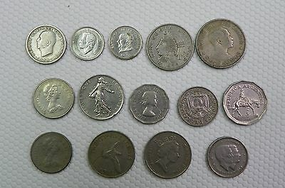 Lot Of 14 Various Foreign Coins Various Dates And Denominations
