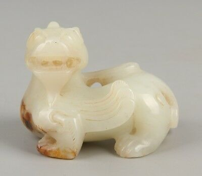 Chinese Exquisite Hand-carved Mythical animal carving Hetian jade statue