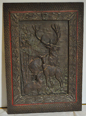 Antique Cast Iron Elk Deer Fireplace Fireback Architectural Salvage