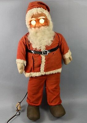 Antique Large Straw Stuffed Electric Eyes Santa Doll!  #2