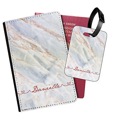 Personalised Marble PU Leather Passport Holder Travel Wallet & Luggage Tag - 94