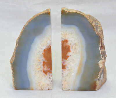 Matched Pair Agate Geode Rock Specimen Bookends #1