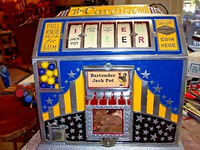 """1936 Pace """"Cardinal"""" Beer Jackpot Trade Stimulator, with keys, gumball, working"""