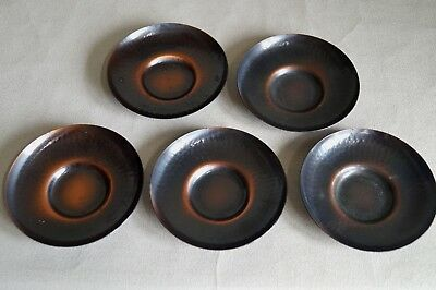 Japanese Copper TEA CUP TRAY Saucer Chataku 5pcs