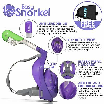 Easy Snorkel 180°View and Anti-fog Full Face Snorkel Mask - L/XL - Purple
