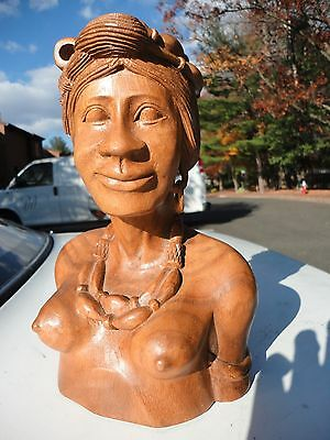 Philippines Hand Carved Wood Tribal Ethnic Igorot Woman Bust Wood statue