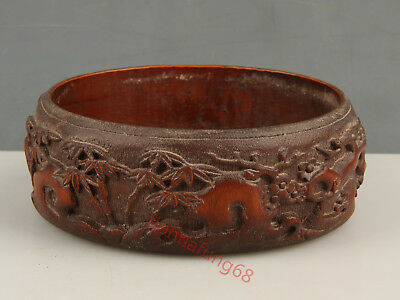 Chinese Exquisite Hand-carved pine flower bamboo carving bamboo Brush Washer