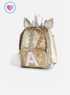 """Justice Girls  Initial Letter  """"b"""" Flip Sequin Gold Mini Unicorn Backpack Nwt"""