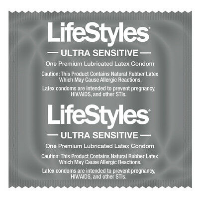 Lifestyles ultra sensitive condoms latex silicone lubricated 100 pieces pack