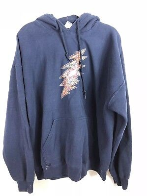 Mens Grateful Dead Hooded Sweatshirt Navy Blue Size Extra Large Pre Shrunk