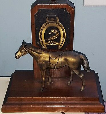 Rare Vintage Antique American Horse Electric Table Lamp Bronze or Brass + Wood
