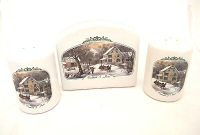 Currier & Ives Collection Museum City of NY Salt Pepper Shaker Napkin Holder