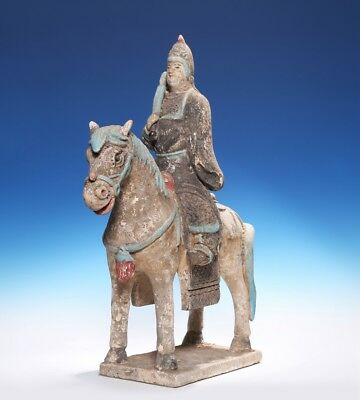 Chinese Northern Wei Dynasty Pottery Old Figure Statue Warrior and Horse SA163