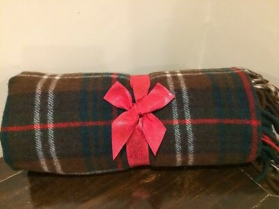 Beautiful vintage PENDELTON fringed plaid wool blanket throw USA