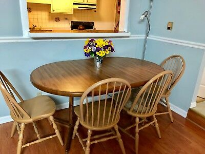 Racetrack/Round Dining Table  with 4 wooden chairs -5 pieces - Local Pickup only