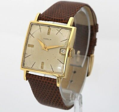 Large 30mm Vintage GUBELIN 18K Solid Gold 19gr 60's Mens Swiss Automatic Watch