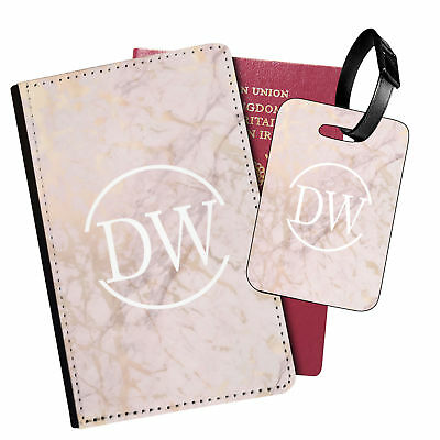 Personalised Marble PU Leather Passport Holder Travel Wallet & Luggage Tag - 76