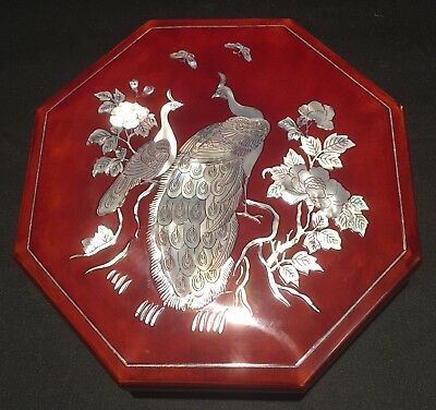 Vintage Large Asian Oriental Vietnamese Laquer Box Mother Of Pearl Inlay Jewelry