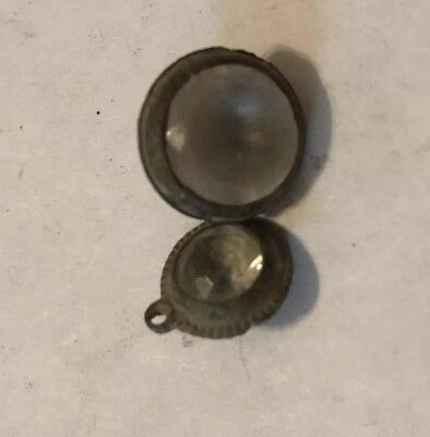 2 Old Antique Medieval? Pendant Copper Jewelry W/ Stone Artifact European Charm