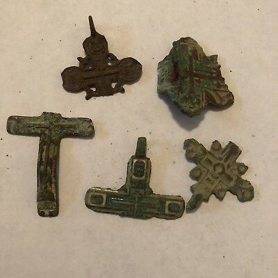 5 Post Medieval Russian Orthodox Religious Pendants Relic Fragments Artifacts 2