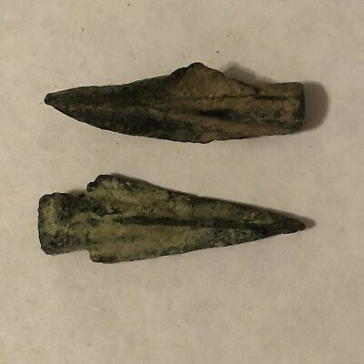 2 Ancient Greek Or Roman Bronze Spear Point Dagger Arrow Head Empire Middle East
