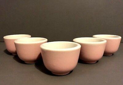 Vintage set Of 5 Thick Porcelain Pink Asian Tea Cups -Made In Japan