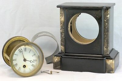 Antique Mantle Clock In Carved Stone Case For Parts Or Repair