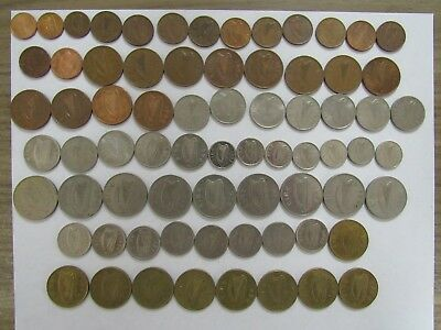 Lot of 72 Different Old Ireland Decimal Coins - 1969 to 2000 - Circulated & BU