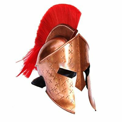 Queen Brass Medieval Roman Spartan King Leonidas 300 Movie Helmet W/ Red Plume