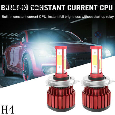 CREE H4 HB2 9003 1800W 270000LM 4 Sides LED Headlight Set Hi/Lo Power Bulb 6000K