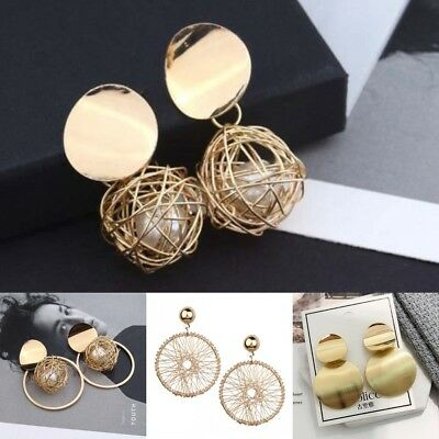 New Charm Women Gold Plated Round Pearl Dangle Drop Earrings Stud Jewelry /D3