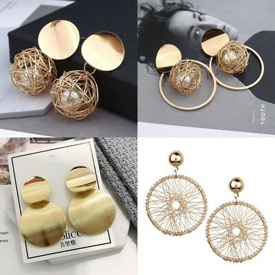 Fashion Charm Women Gold Plated Round Pearl Dangle Drop Earrings Stud Jewelry LE