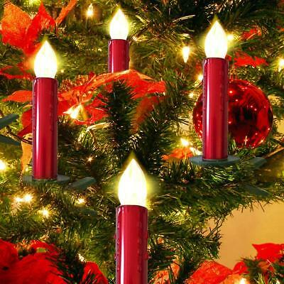 24Pcs Flameless Flickering LED Tree Candle Lights for Christmas Ornaments Red